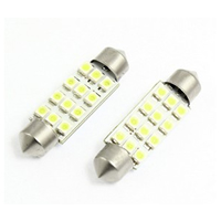 2 Pcs 1210 SMD 12 White LED 42MM Car Festoon Dome Reading Light Lamp internal