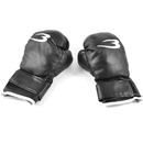 Sponge Padded Black Faux Leather Mittens Boxing Gloves Pair